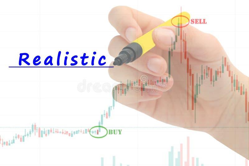 Hand schrijven 'Realistisch 'op bedrijfsgrafiek en voorraad financiële indicator stock afbeelding