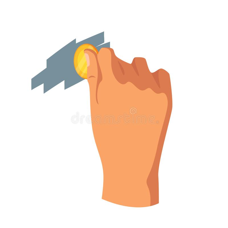 Hand scratching card with coin vector illustration stock illustration