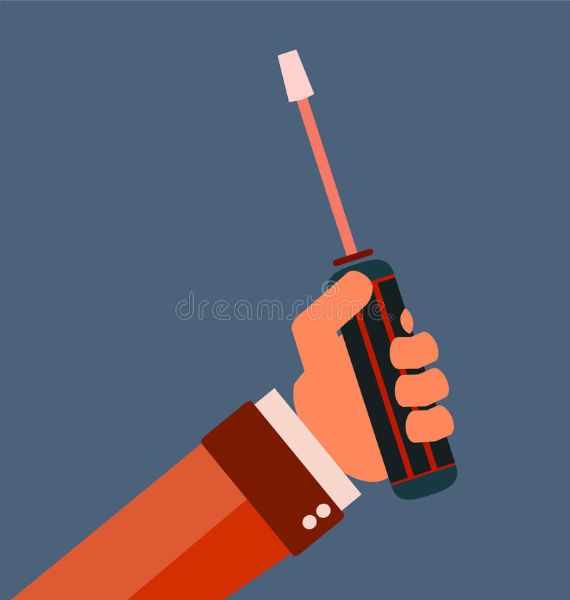 Hand with screwdriver. Hand holding screwdriver, hand with screwdriver stock illustration