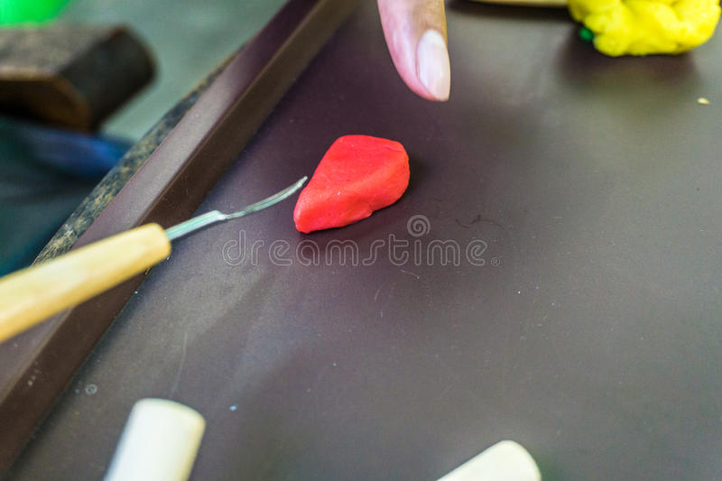 Hand sculp carving a plasticine handmade photo taken in depok bogor indonesia. Java stock image