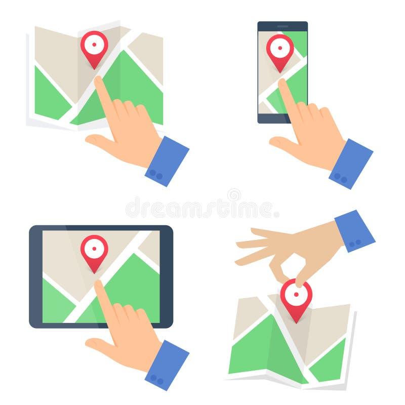 Hand searchig voor plaats op diverse kaarten Vectorconceptenillus vector illustratie