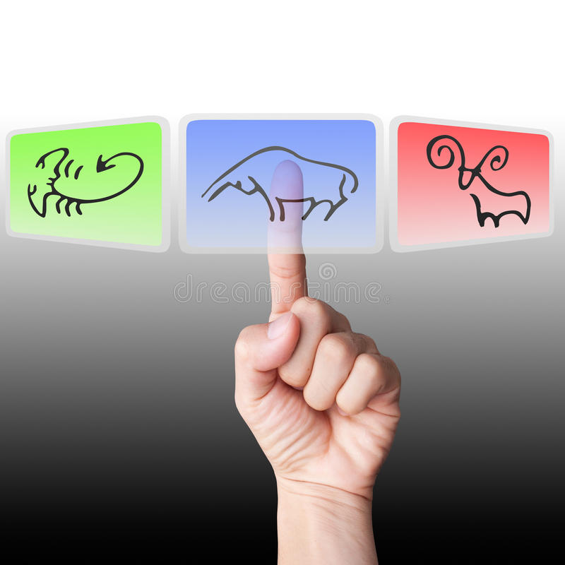 Hand select at hi-technology buckboard bull icon. Hand select at hi-technology buckboard blue bull icon stock photography