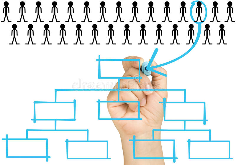 Hand Selecting Candidate Organizational Chart Corp lizenzfreies stockfoto