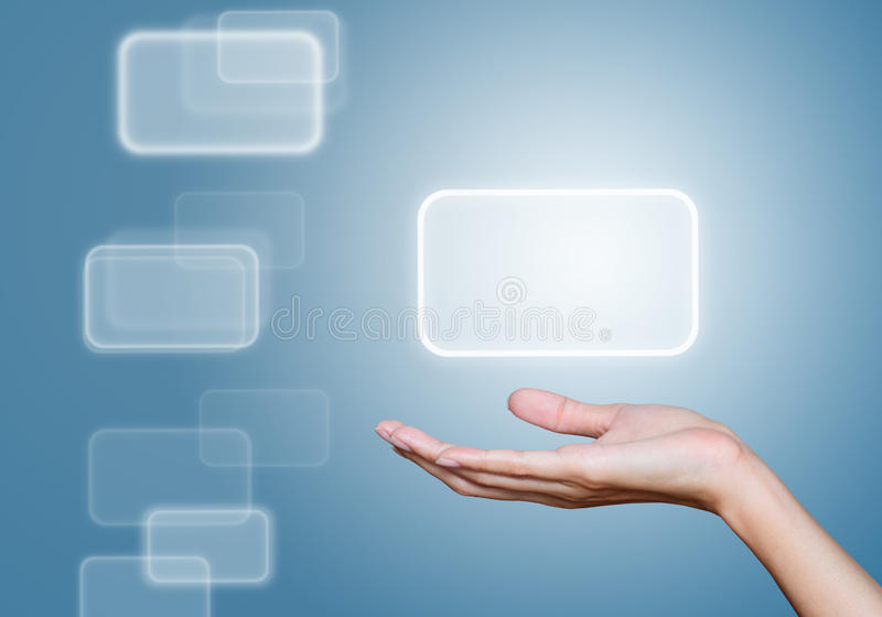 Hand selecting icon with blue background royalty free stock image