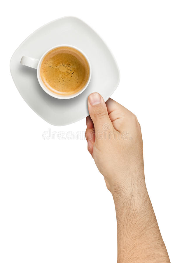 Hand Serving Coffee Isolated royalty free stock image