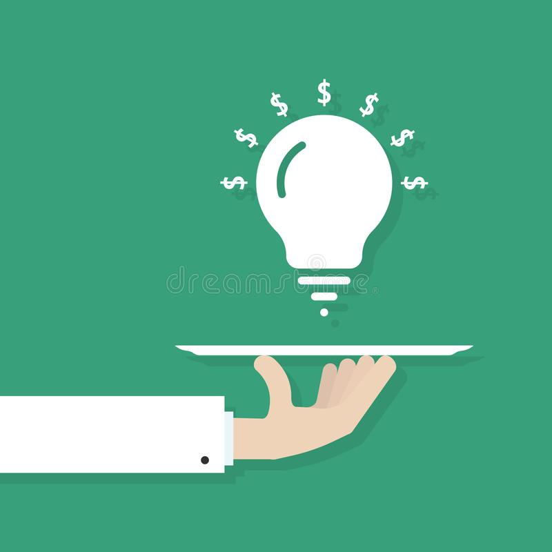 Hand serving idea bulb royalty free illustration