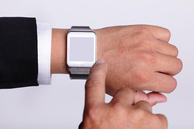 Hand serving smart watch. Isolated, copy space is great for your design royalty free stock image