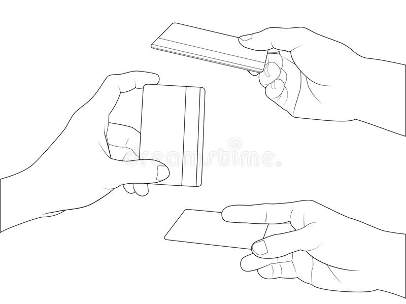 Download Hand set credit card stock vector. Image of forefinger - 37491693