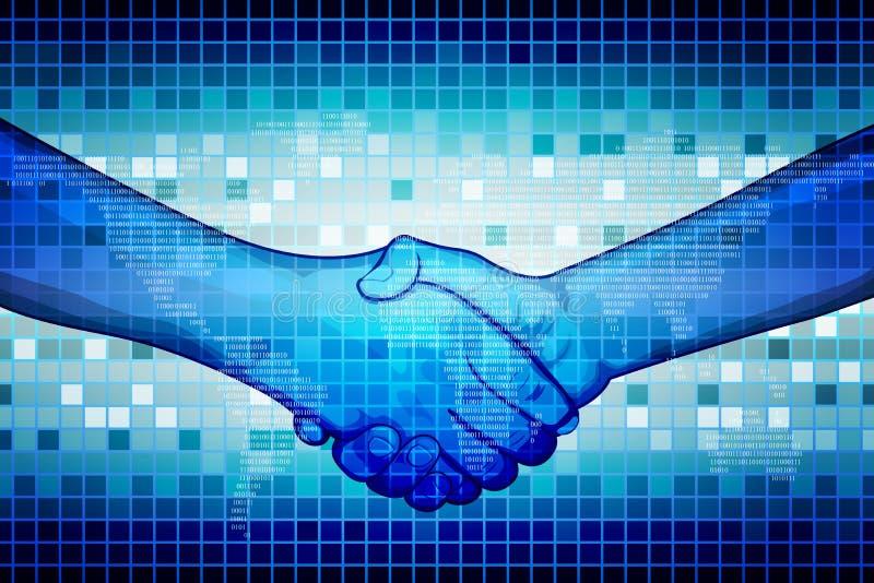 Hand Shake. Illustration of hand shake on abstract binary background royalty free illustration
