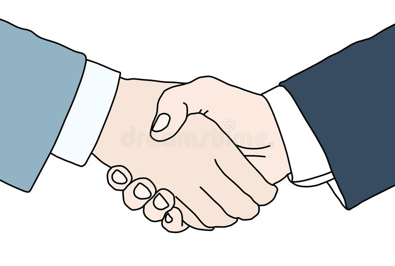 Hand shake. Between two persons isolated on white vector illustration