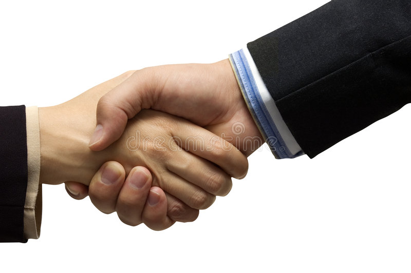 Hand shake. In front of a white background