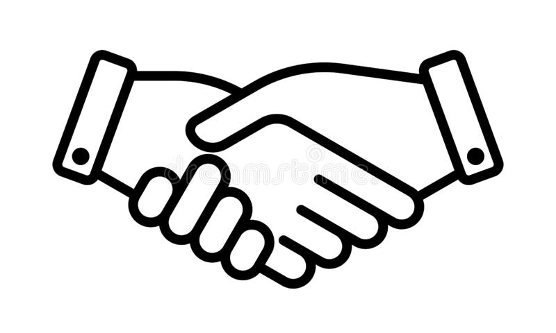 Hand shake business partner agreement vector icon. Partnership deal and friendship handshake sign vector illustration
