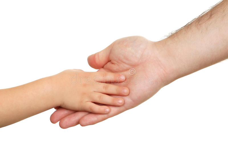 Hand shake of the child and father. Isolated royalty free stock photography