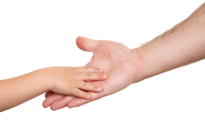 Hand shake of the child and father. Isolated royalty free stock photo