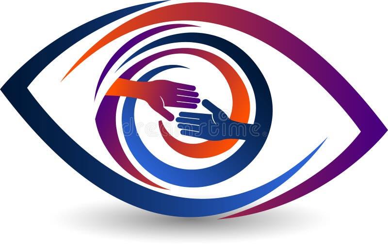 Hand shake eye logo stock illustration