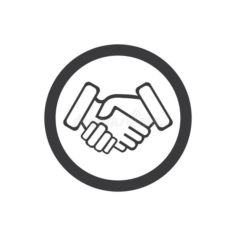 Hand shake. Logo template, partnership, agreement, deal, male, handshake, business, businessman, team, corporate, meeting, cooperation, job, success, office stock illustration