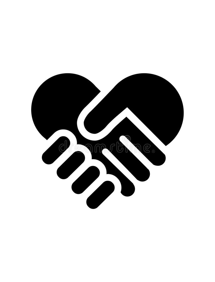 Hand shake heart sign on white background. Vector illustration silhouette of hand shaking heart sign isolated on white background stock illustration