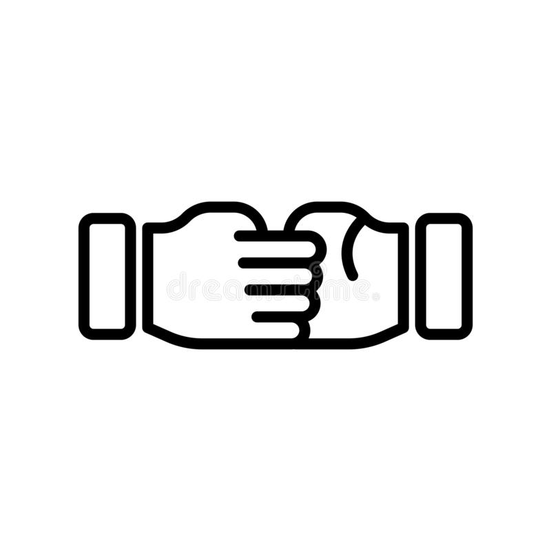 Hand shake icon vector sign and symbol isolated on white background, Hand shake logo concept stock illustration