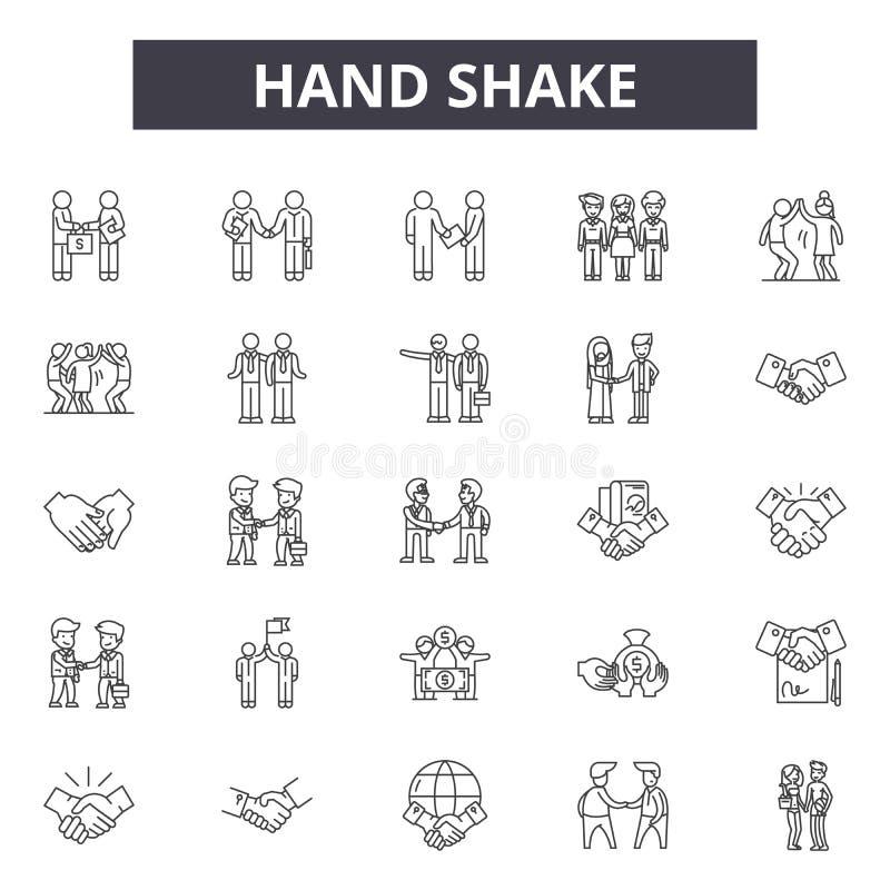 Hand shake line icons, signs, vector set, outline illustration concept stock illustration