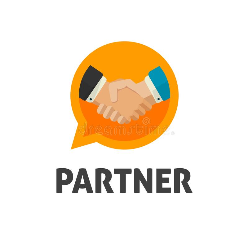 Hand shake logo vector, flat design shaking hands symbol, handshake logotype, concept of deal or partnership icon. Partner agreement or cooperation unity vector illustration