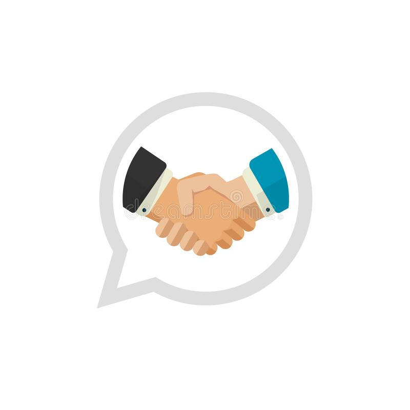 Hand shake logo vector, flat design shaking hands symbol, handshake logotype, concept of deal or partnership icon. Partner agreement or cooperation unity royalty free illustration