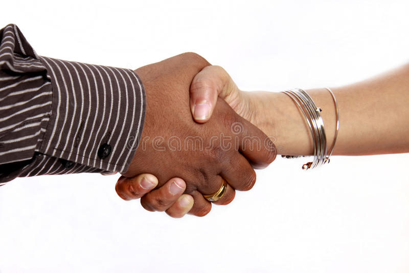 Hand shake male and female stock photo