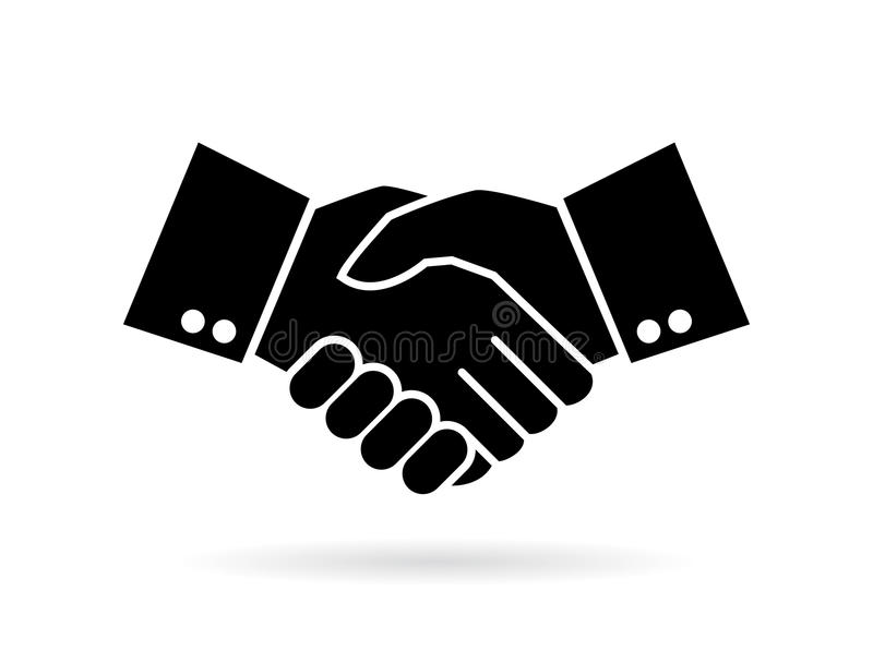 Hand shake silhouette vector icon stock illustration