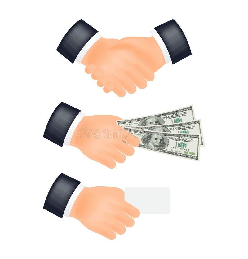 Hand shake, vector. Hand shake, cash. Vector illustration stock illustration