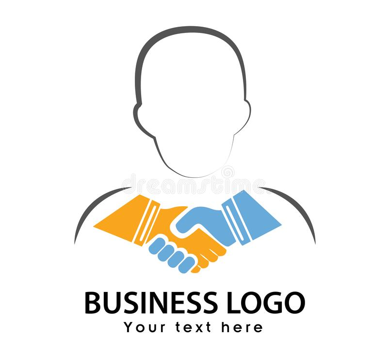 Hand shaking icon with face line shape colorful logo vector. Source file available royalty free illustration
