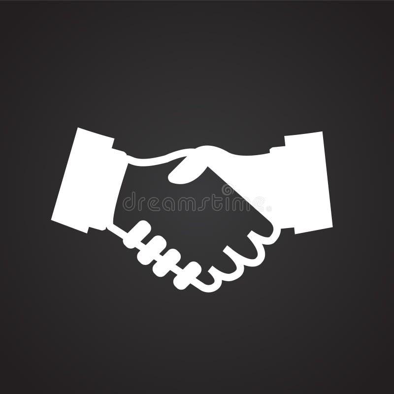 Hand shaking partners on black background royalty free illustration