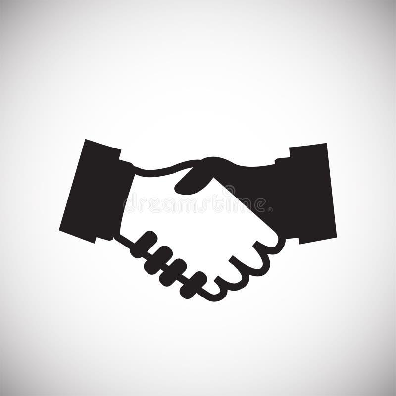 Hand shaking partners on white background stock illustration