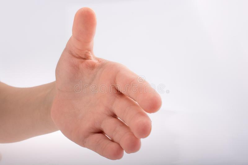 Hand shaking. On a white background royalty free stock photo