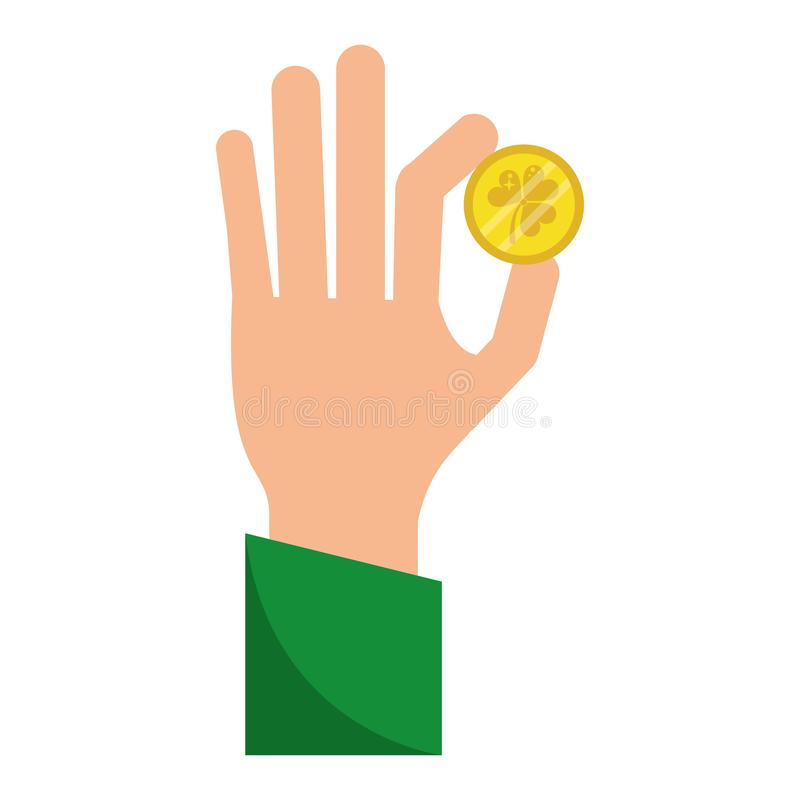 Hand with shamrock coin stock illustration