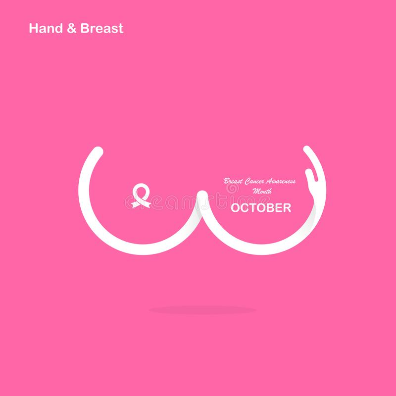 Hand shape & Breast icon.Breast Cancer October Awareness Month C vector illustration