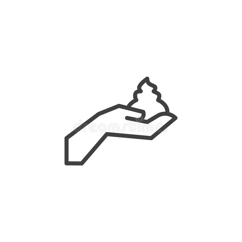 Hand with shaving foam line icon royalty free illustration