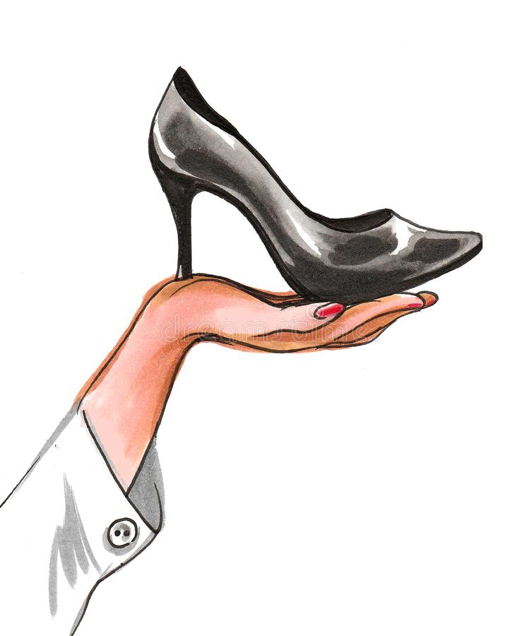 Hand and shoe royalty free illustration