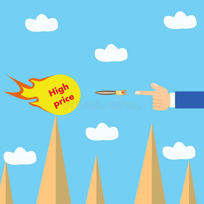 HAND SHOOT HIGH PRICE. CAN BE USED BY MANY COMPANIES royalty free illustration