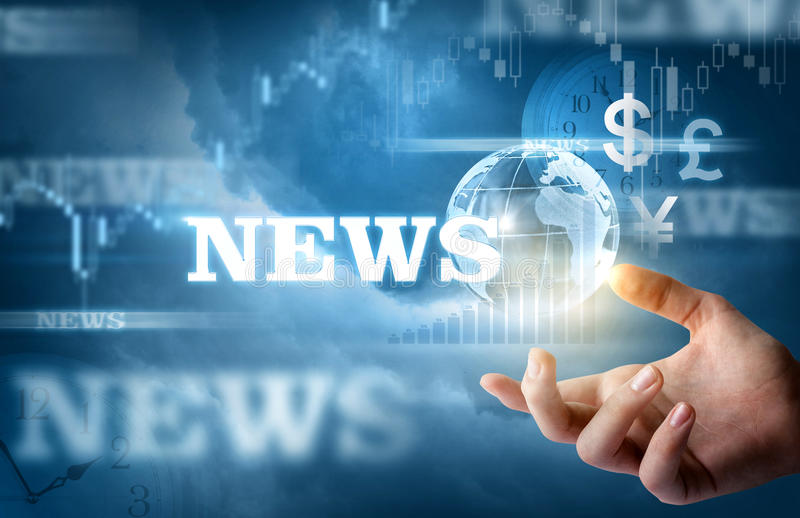 Hand show business news. Hand show business news on a blue background royalty free stock photos