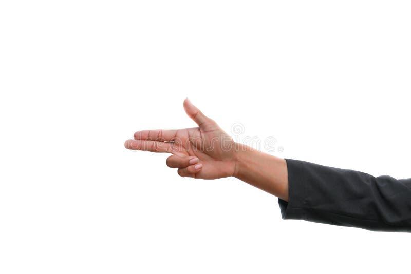 Hand Show Gun Symbol On White Background Stock Photo Image Of