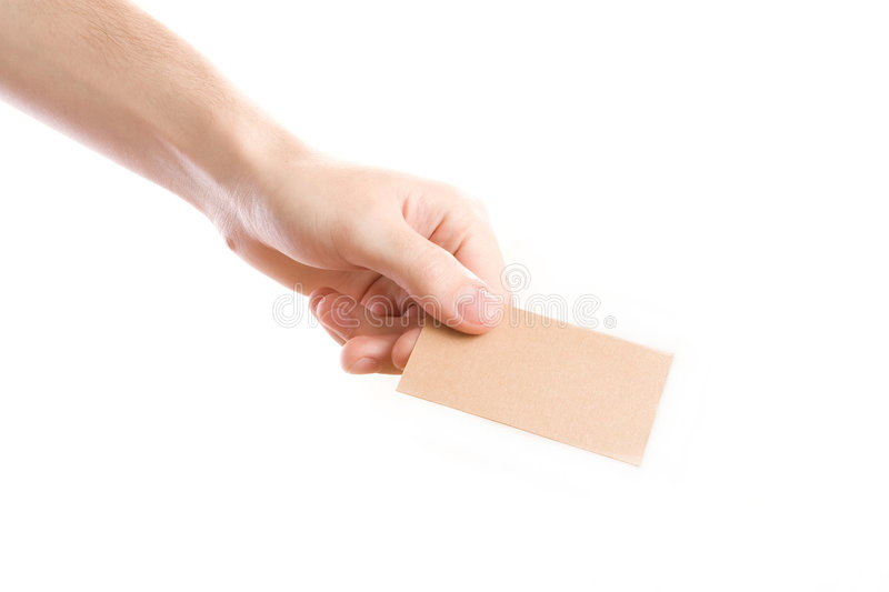 Hand showing blank business card royalty free stock photography