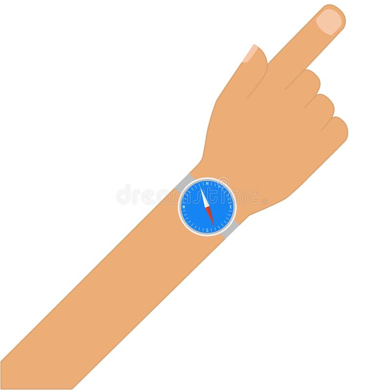 Hand showing direction with a compass on it vector illustration