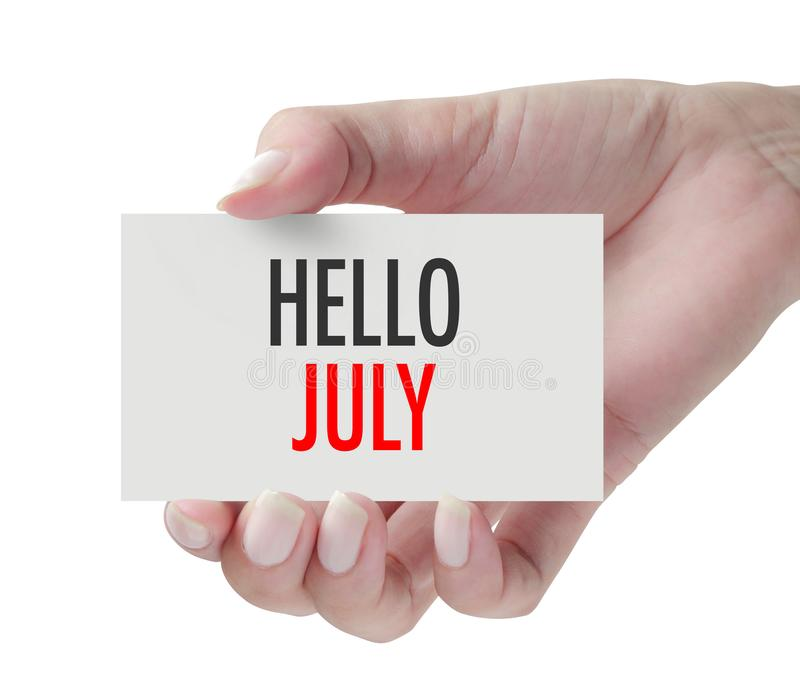 Hand showing Hello July royalty free stock photos