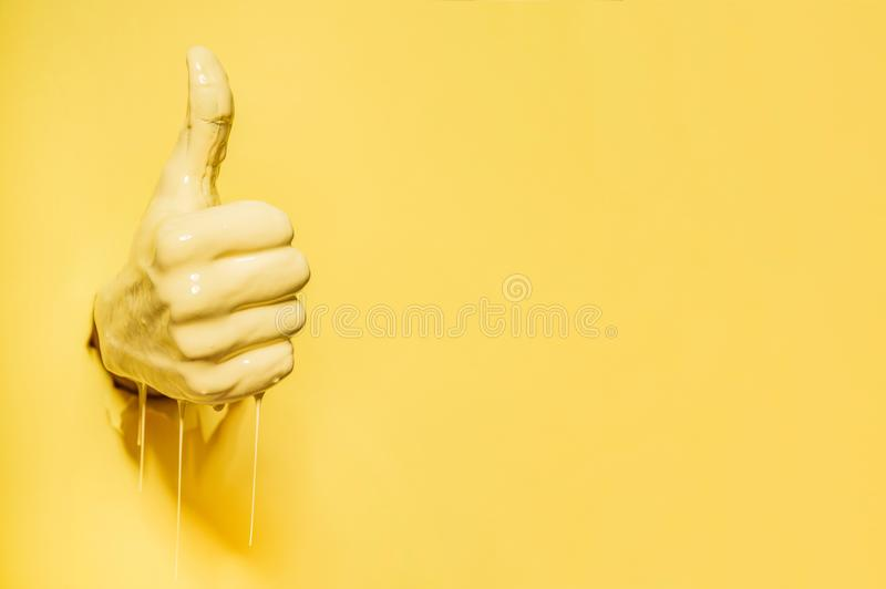 Hand showing the `like` sign stock image