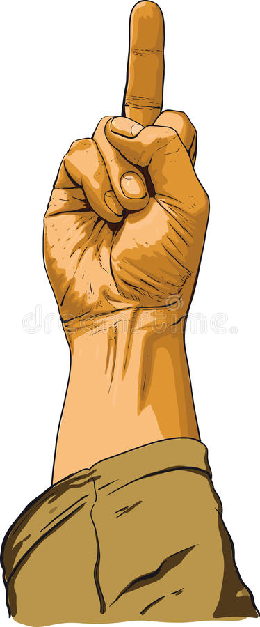 Hand showing no decent gesture. Right hand showing obscene gesture first person view royalty free illustration