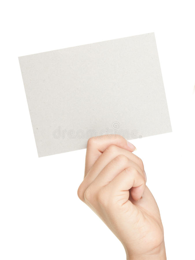 Hand Showing Paper Sign Stock Image
