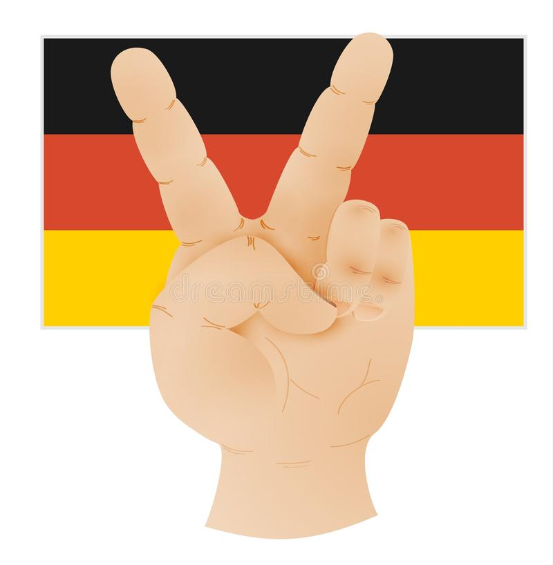 Hand showing peace sign and flag of germany stock illustration