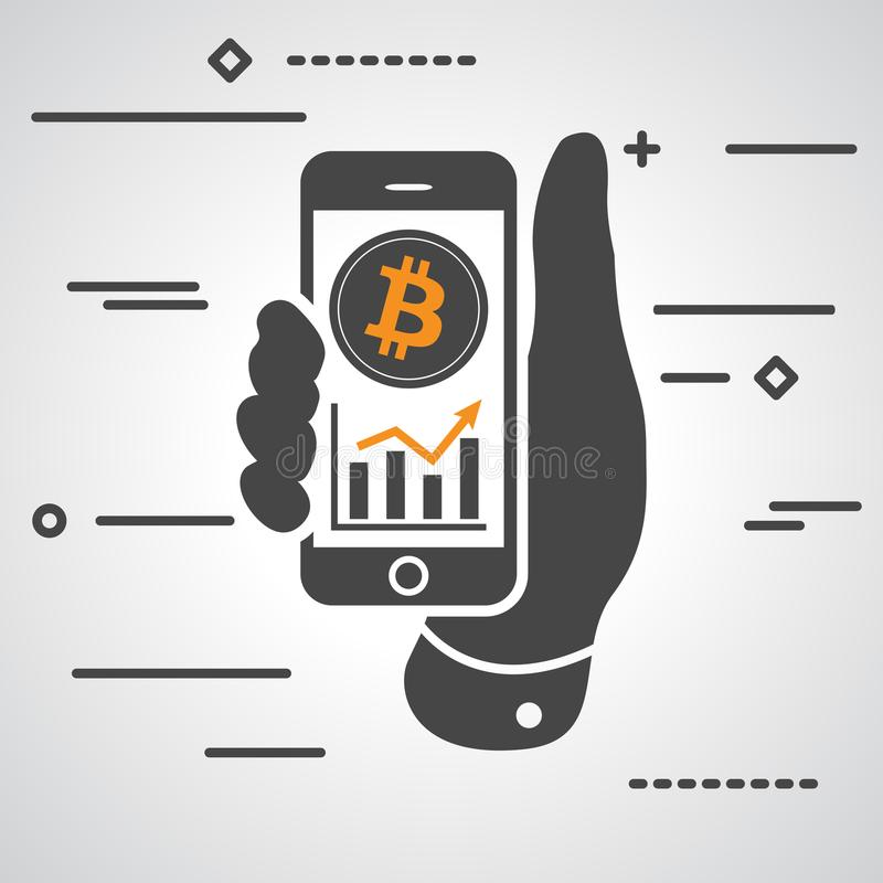 Hand showing phone with bitcoin graph going up stock illustration