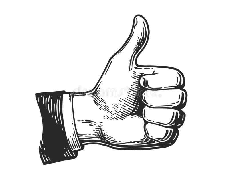 Hand like engraving. Hand showing symbol Like. Making thumb up gesture icon. Vintage black engraving illustration for web, poster. Hand drawn design element vector illustration
