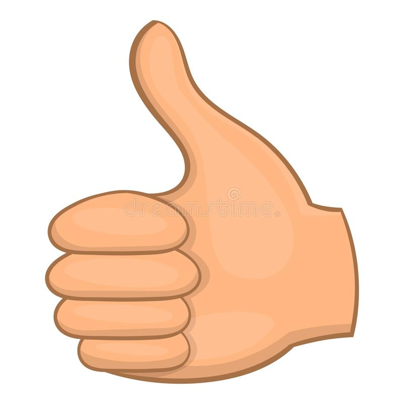 Hand showing thumbs up icon, cartoon style vector illustration