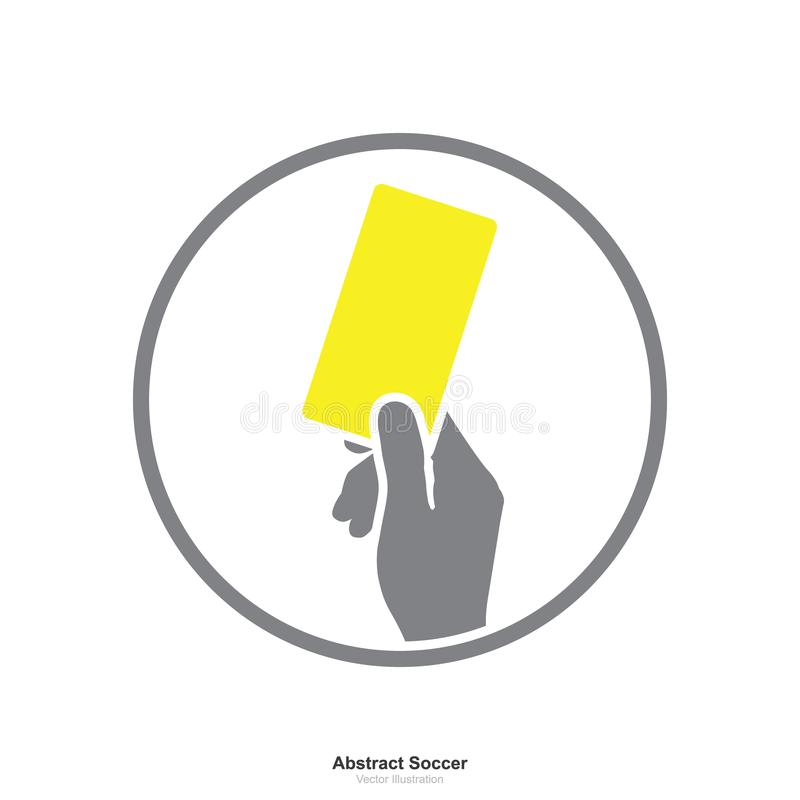 Hand showing yellow card icon on a white background. stock illustration